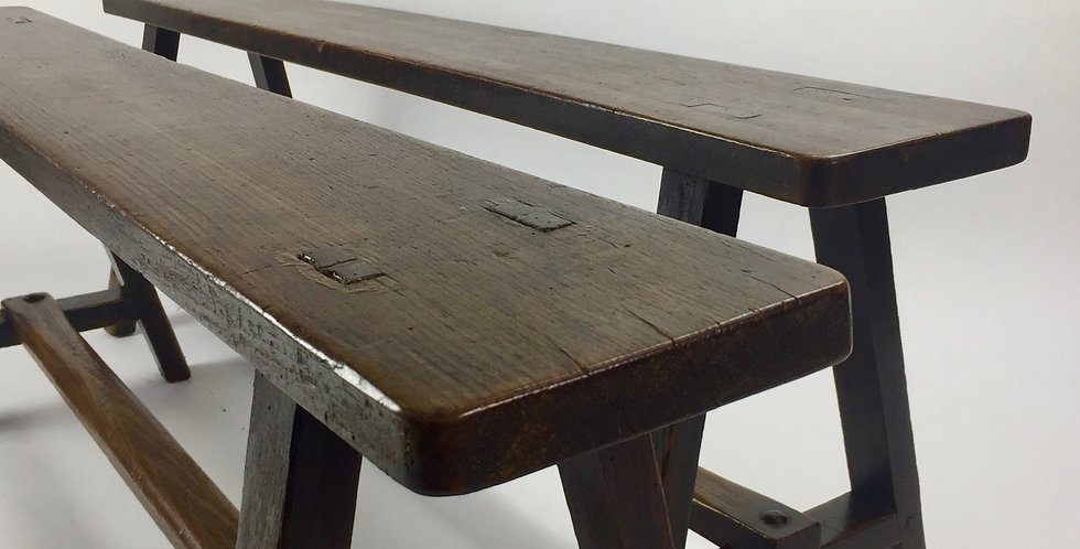 French Vintage Wooden Benches