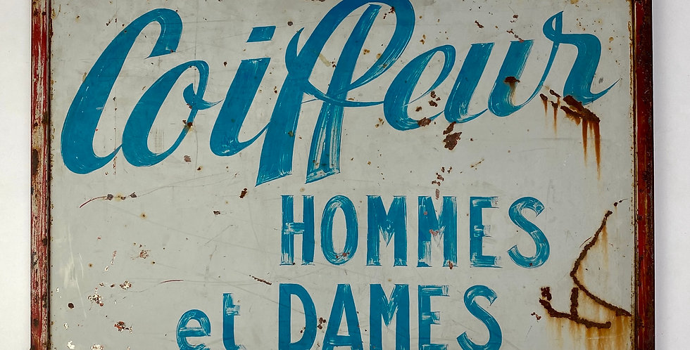 Vintage French Men's and Ladies' Hairdressing Trade Sign reading 'Coiffeur Hommes et Dames'