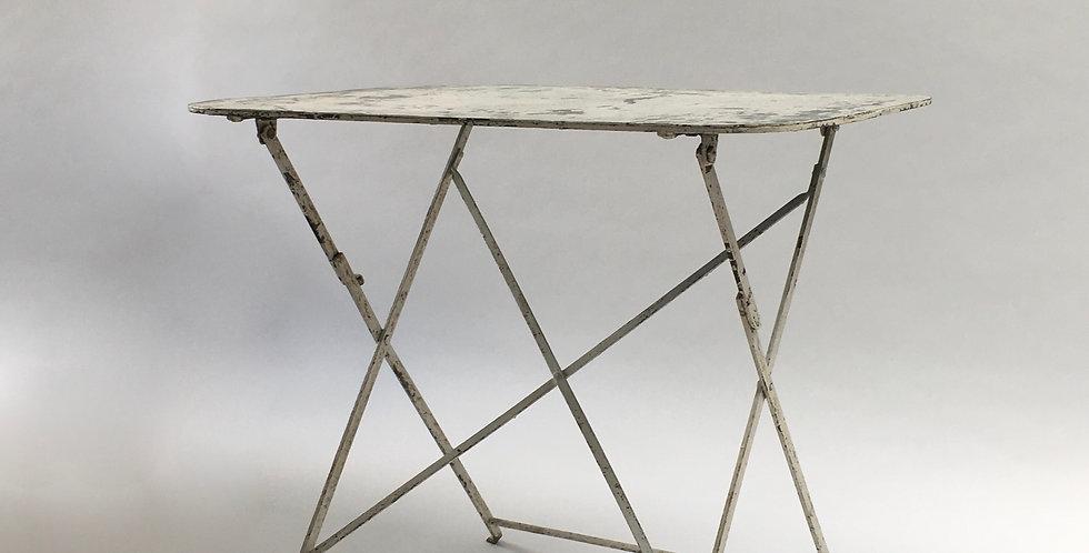 Vintage French rectangular white wrought iron folding garden table with beautiful patina