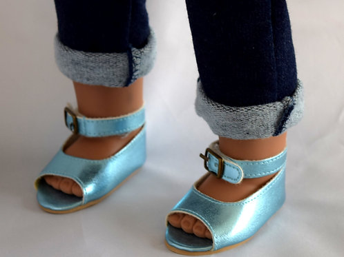 "Metallic Blue Open Toe Shoes ~ Fits 18"" Dolls"
