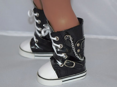 Black Shiny Vinyl High Top Sneakers For 18 inch Doll