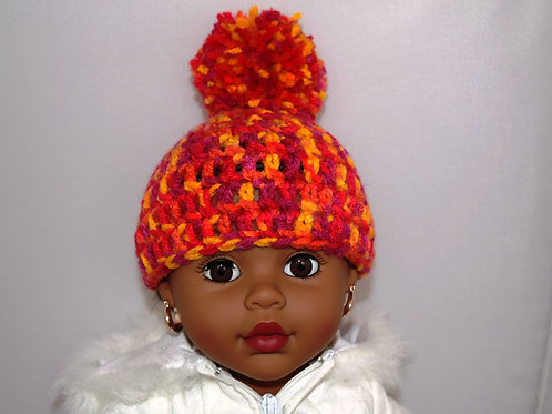 Single Pom Pom Crochet Multi-Colored Hat w/ Mittens for 18 inch Doll