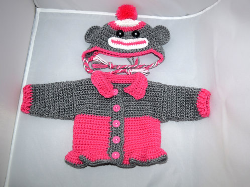 Monkey Hat and Sweater Set for 18 inch Dolls