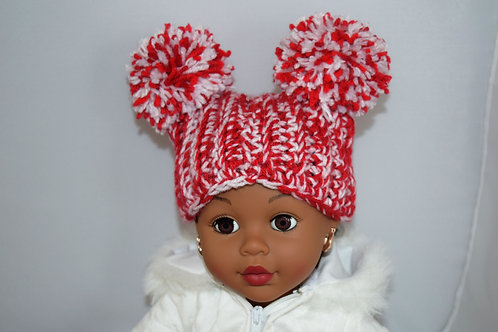 Double Pom Pom Crochet Red and White Hat w/ Mittens for 18 inch Doll
