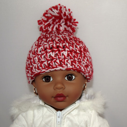 Single Pom Pom Crochet Red and White Hat w/ Mittens for 18 inch Doll