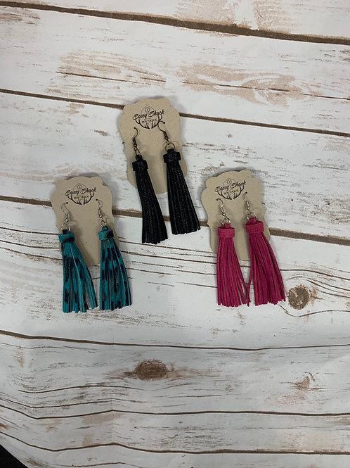 Small Leather Tassel Earrings