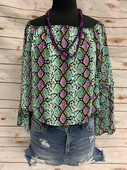 Purple/Greenish/Yellow Bell Sleeve Off Shoulder (Marti Gras)