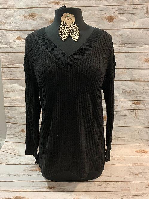 Black V-Neck Waffle Sweater