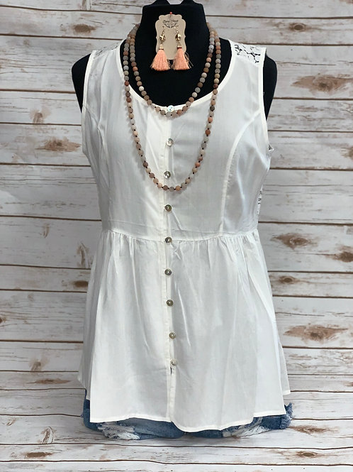 White Button Down- Lace Back Sleeveless