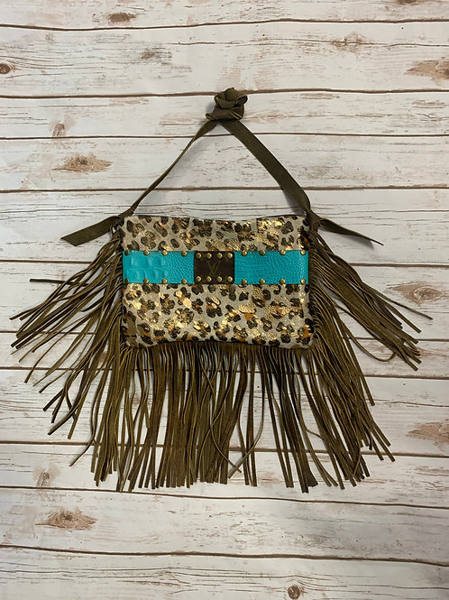 LV-Cheetah Fringe Zipper with Turquoise Band