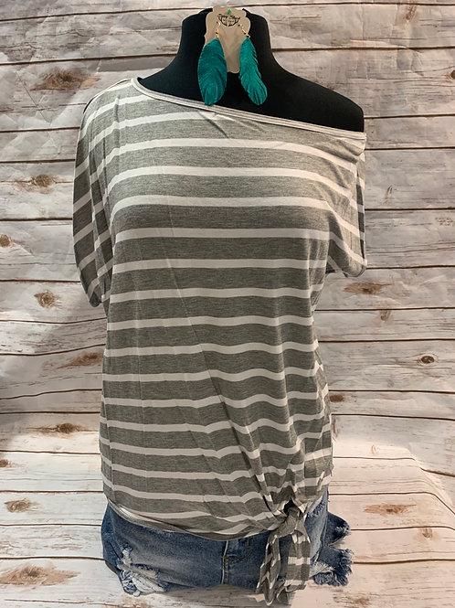 Grey stripe cold shoulder