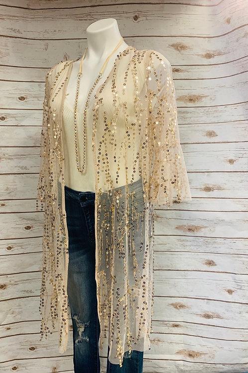 Gold drop sequin Kimono