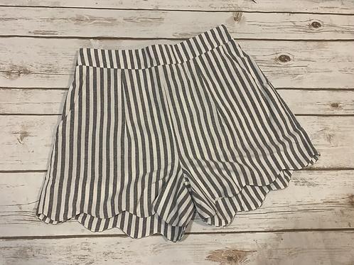 Navy Pinstripe Scallop Shorts