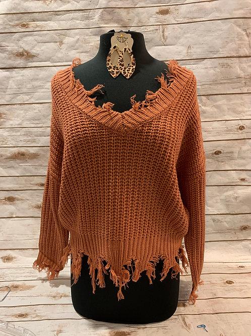 Rust Frayed Sweater