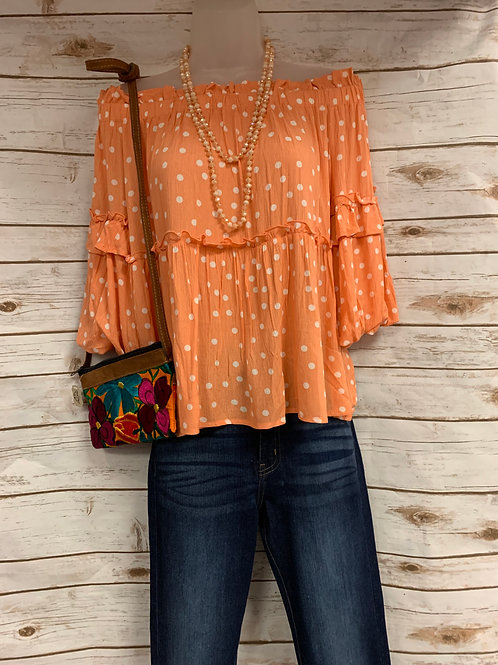 Orange Polk A Dot with 3/4 Bell Sleeves