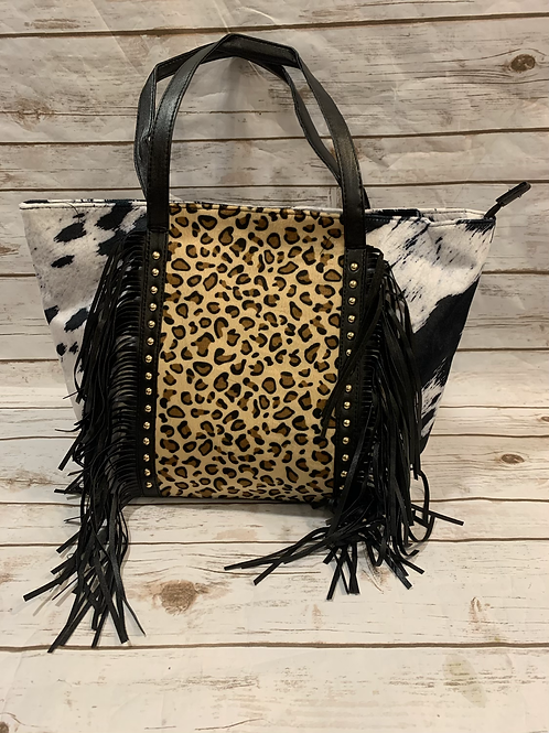 Leopard Cowhide Overnight Bag