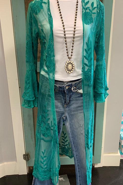 Turquoise Lace Kimono