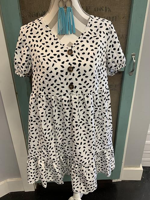 White Spot Button Dress