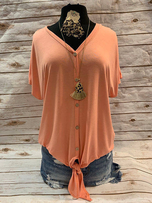 Coral Button Down Front Tie