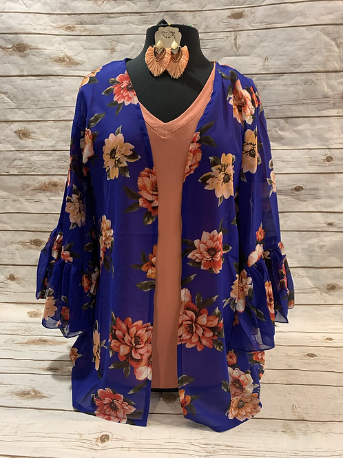 Blue Floral Ruffle Sleeve