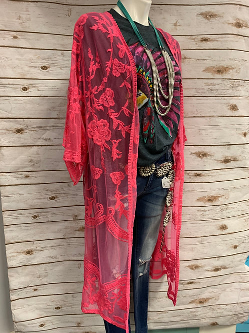 Hot Pink Lace Duster