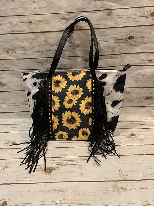 Sunflower Cowhide Overnight Bag