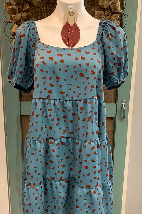 Teal Spotted Dress