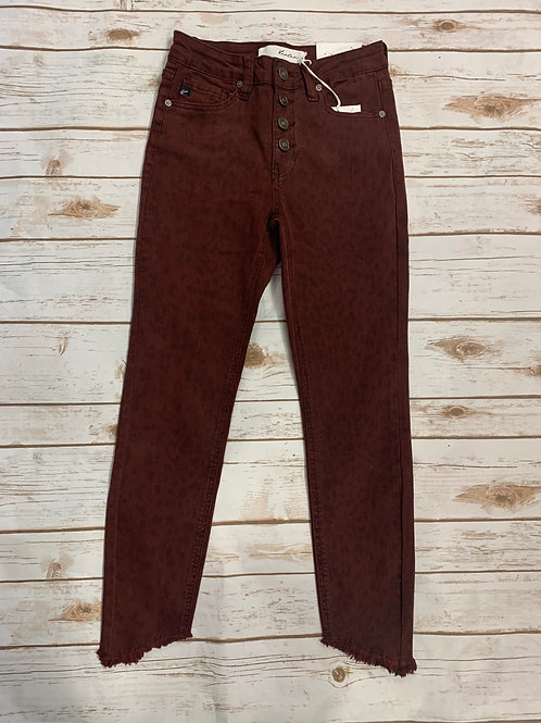 Kancan Burgundy Spotted Crop Ankle High Rise