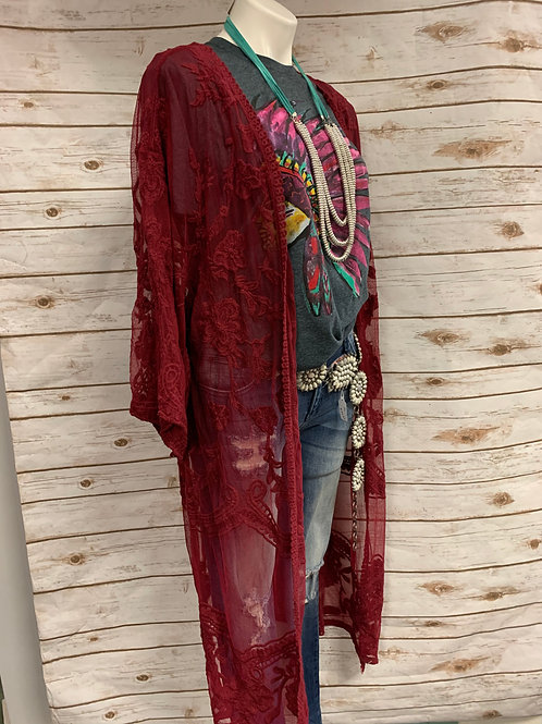 Wine Lace Duster