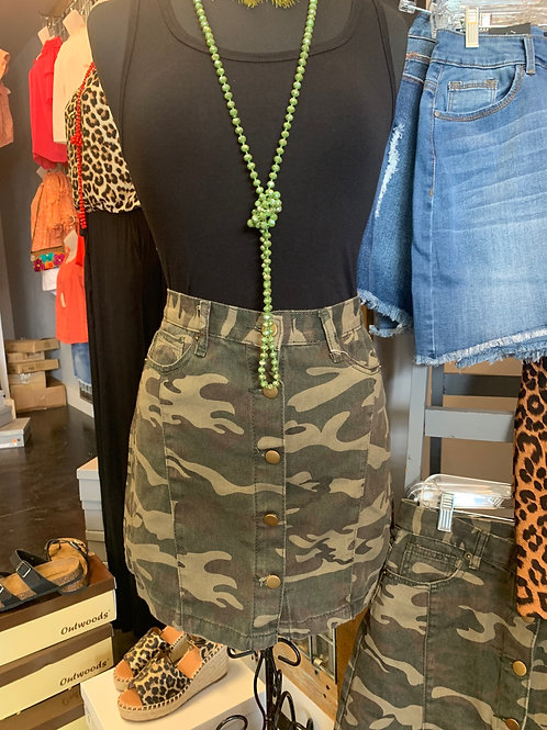Camo button skirt
