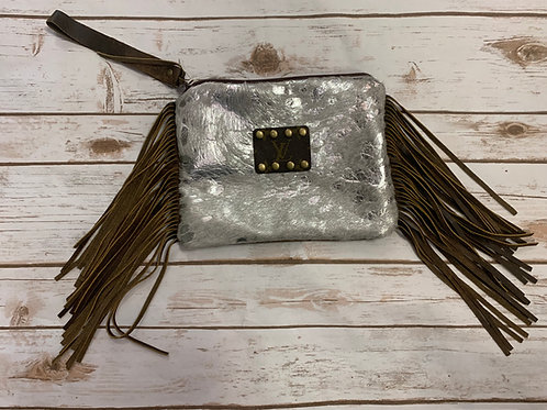 LV-Big Shiny Silver with Fringe and Wrist Strap