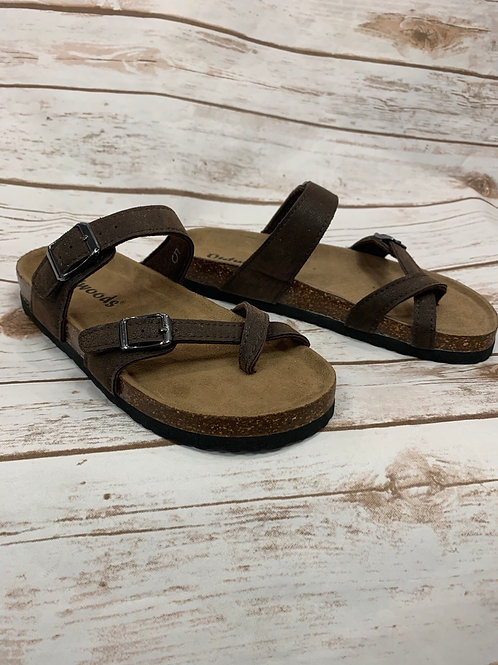 Brown Buckle Sandals