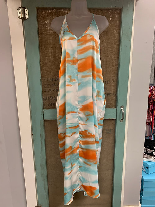 Blue and Orange Tie Dye Dress with Pockets