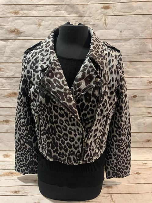 Grey leopard moto jacket