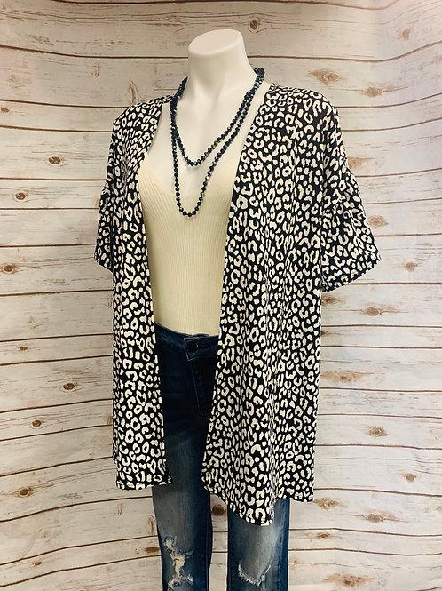 Black/White Cheetah Kimono