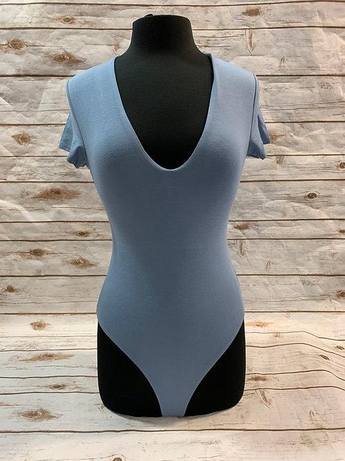 Deep V Neck Bodysuit- Blue