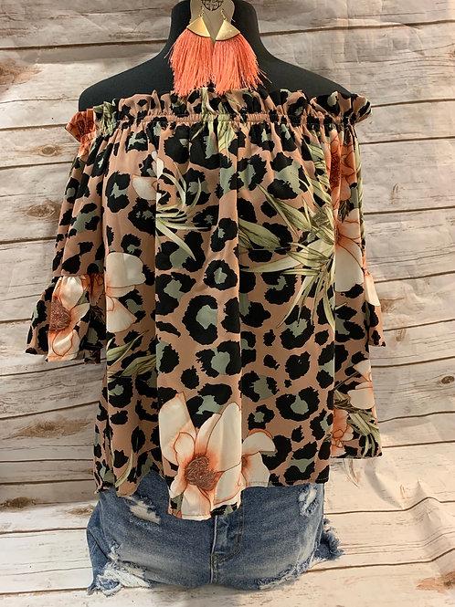 Mauve Floral ruffle sleeve
