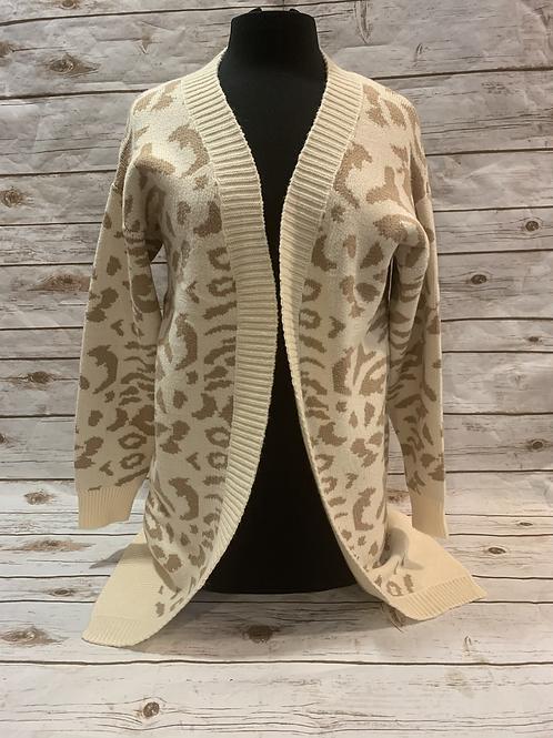 Light Taupe Leopard Cardigan