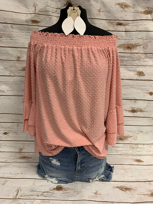 Light Pink Bubble Top with 3/4 Bell Sleeves