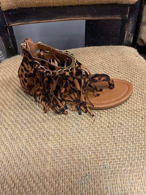 Leopard Fringe Sandal