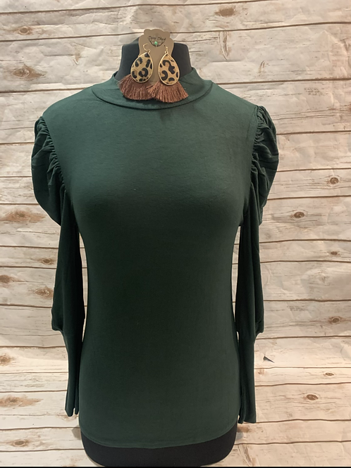 Olive mock neck with bubble sleeves