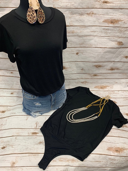 Black Bodysuit -Short Sleeve