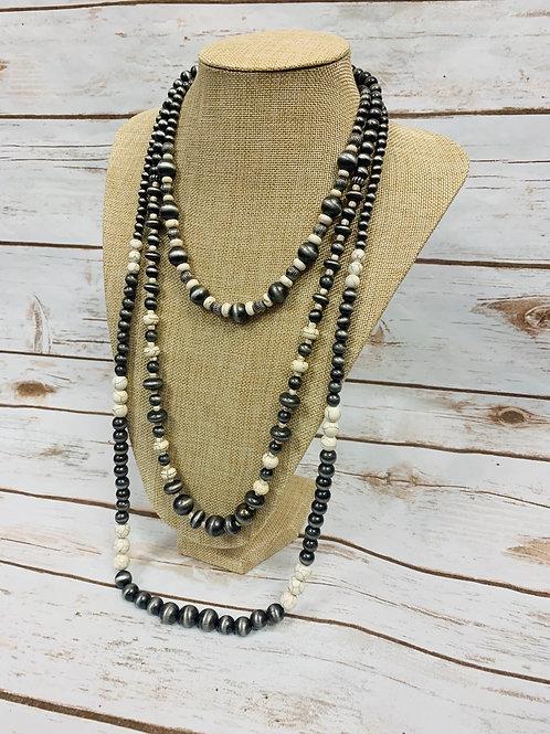 White Stone Layered Necklace