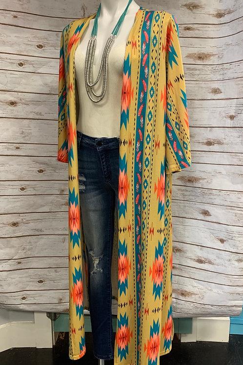 Mustard Aztec Kimono