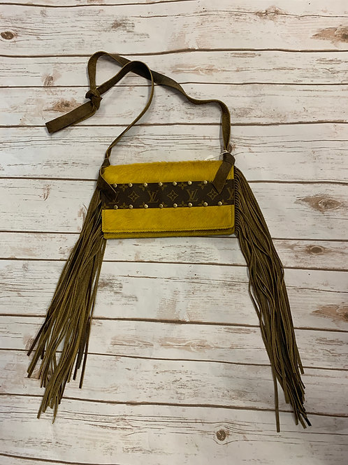 LV- Mustard Fringe Purse with zipper