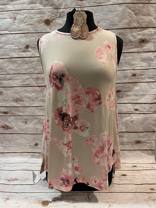 Taupe Floral Tank