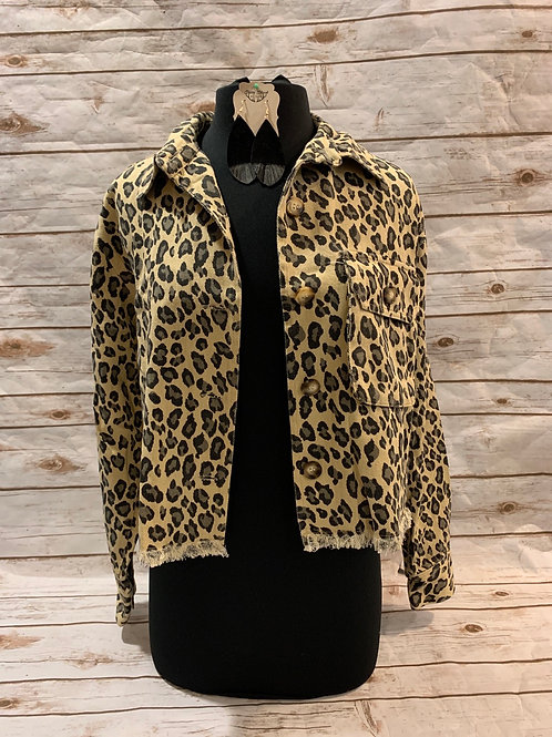 Leopard Crop Denim Jacket