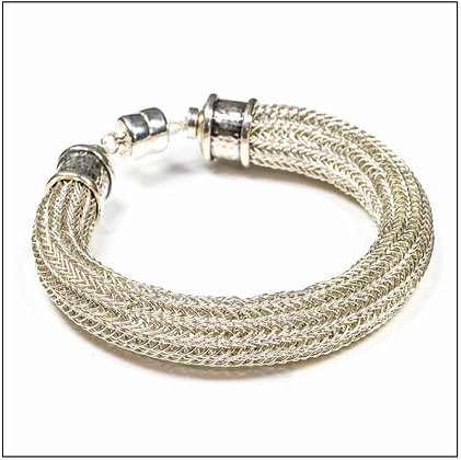 Viking Knit Wide Bracelet - Sterling Silver