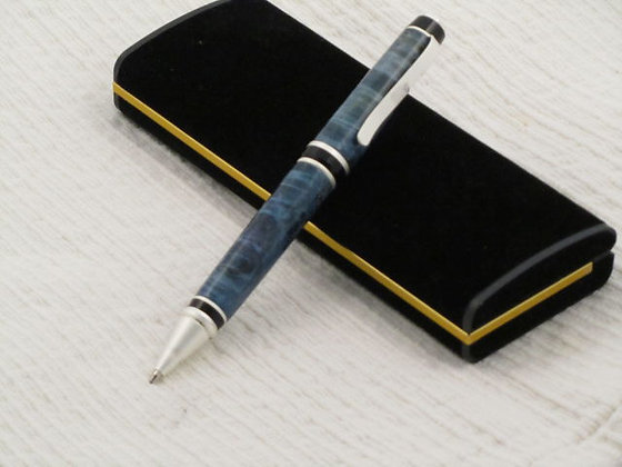 Virginian,  Blue Box Elder, Satin Pearl Hardware