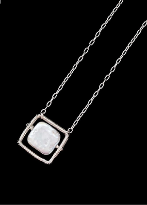 Square Spot Necklace - Sterling Silver